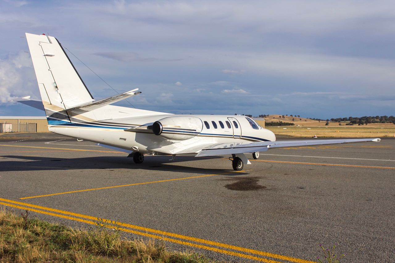 Flight options  vh foj  cessna 550 citation ii parked in the general aviation area at wagga wagga airport  1