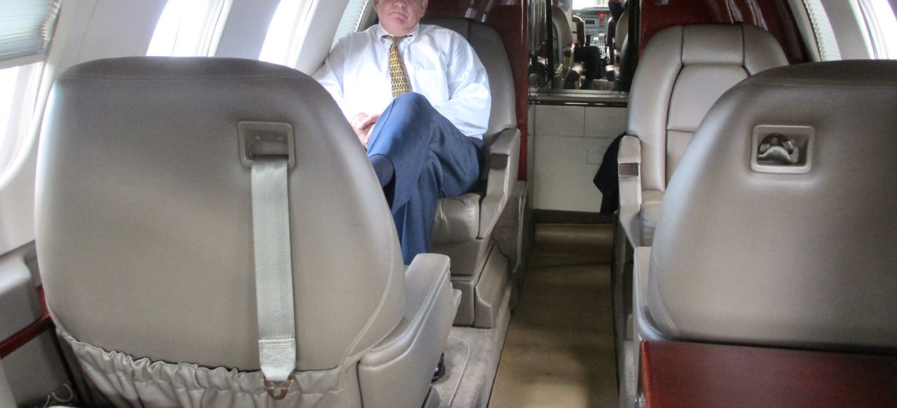 Interior of piaggio p180 avanti cabin facing aft